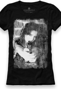 Czarny t-shirt Underworld ze skóry ekologicznej w młodzieżowym stylu