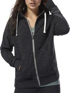 Czarna bluza Reebok z bawełny w sportowym stylu krótka