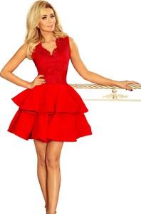 Czerwona sukienka NUMOCO z dekoltem w kształcie litery v mini