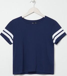 Granatowy t-shirt Sinsay z krótkim rękawem