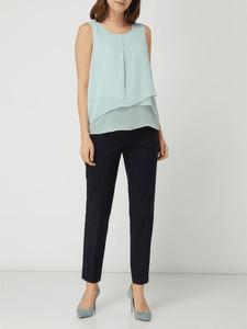 Turkusowa bluzka Esprit z szyfonu z okrągłym dekoltem