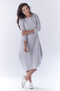 Sukienka Awama z długim rękawem midi z dresówki