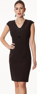 Czarna sukienka Semper z krótkim rękawem midi z dekoltem w kształcie litery v