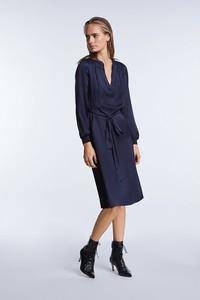Niebieska sukienka Set midi z dekoltem w kształcie litery v