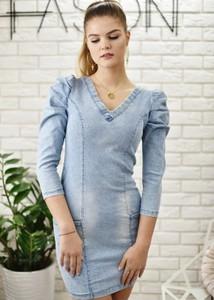 Niebieska sukienka Fason ołówkowa z jeansu z długim rękawem