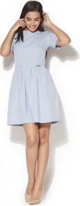 Niebieska sukienka Katrus mini prosta w stylu casual