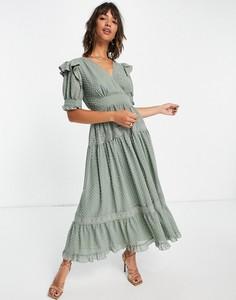 Sukienka Asos midi z długim rękawem z dekoltem w kształcie litery v