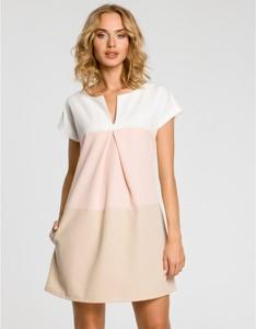 Sukienka MOE z krótkim rękawem trapezowa