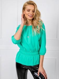 Zielona bluzka Sheandher.pl z okrągłym dekoltem z bawełny w stylu casual