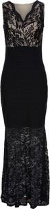 Czarna sukienka bonprix bodyflirt boutique maxi w koronkowe wzory