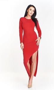 aaa8f8f2b4 Czerwona sukienka Pawelczyk24.pl maxi z długim rękawem z okrągłym dekoltem