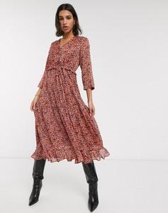 Sukienka Y.A.S z długim rękawem z szyfonu midi