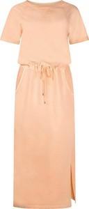 Pomarańczowa sukienka Tramontana w stylu casual z krótkim rękawem