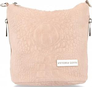 Różowa torebka VITTORIA GOTTI z tłoczeniem na ramię w stylu casual