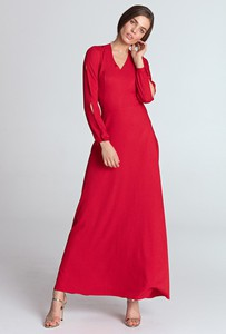 Czerwona sukienka NIFE maxi z długim rękawem