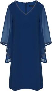 Niebieska sukienka VitoVergelis z dekoltem w kształcie litery v z szyfonu