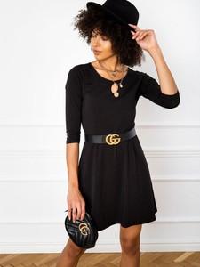 Czarna sukienka Sheandher.pl z bawełny z długim rękawem z okrągłym dekoltem
