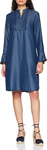 Niebieska sukienka amazon.de z długim rękawem