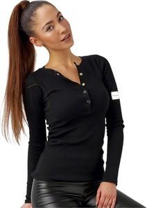 Czarna bluzka Ooh la la w stylu casual z okrągłym dekoltem z długim rękawem
