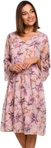 Sukienka Style z szyfonu w stylu casual z długim rękawem