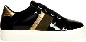 Czarne buty sportowe Gant ze skóry sznurowane