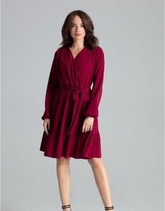 Czerwona sukienka LENITIF z długim rękawem z dekoltem w kształcie litery v