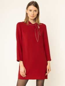 Czerwona sukienka Liu-Jo z długim rękawem z żabotem