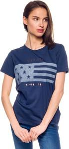 Granatowy t-shirt Hilfiger Denim z okrągłym dekoltem w młodzieżowym stylu