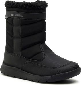 Czarne buty dziecięce zimowe Merrell dla dziewczynek na zamek
