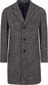 Granatowy płaszcz męski Boss z wełny