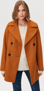 Brązowy płaszcz FEMESTAGE Eva Minge z wełny w stylu casual