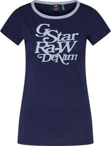 Niebieska bluzka G-Star Raw z bawełny z okrągłym dekoltem