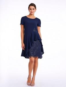 Granatowa sukienka POTIS & VERSO z krótkim rękawem mini