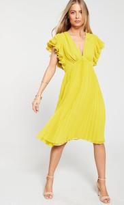 Żółta sukienka V by Very z dekoltem w kształcie litery v midi