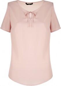 Różowa bluzka Nife z okrągłym dekoltem z krótkim rękawem
