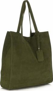 Pojemnie torebki skórzanej z wysokiej jakości zamszu naturalnego vittoria gotti zielone