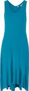 Sukienka bonprix bpc bonprix collection midi asymetryczna z dekoltem w kształcie litery v