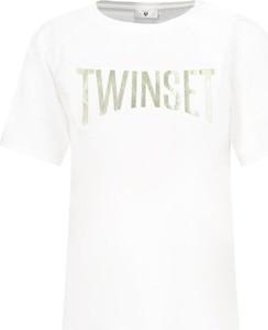 T-shirt Twinset z krótkim rękawem w młodzieżowym stylu z okrągłym dekoltem