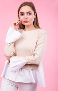 Różowa bluzka Zoio w stylu retro z długim rękawem