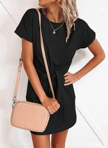 Czarna sukienka Sandbella w stylu casual z bawełny