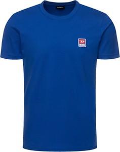 Niebieski t-shirt Diesel z krótkim rękawem