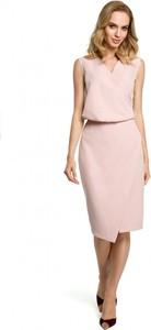 Różowa sukienka MOE z tkaniny ołówkowa