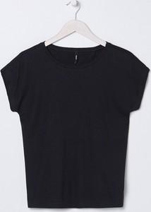 Czarny t-shirt Sinsay z okrągłym dekoltem w stylu casual