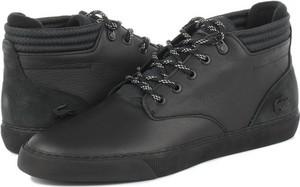 Czarne buty zimowe Lacoste sznurowane ze skóry
