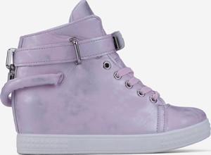 Fioletowe buty sportowe Yourshoes sznurowane