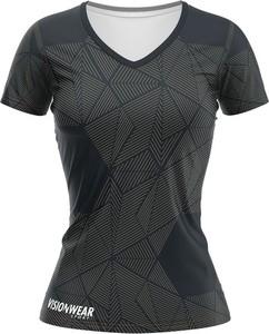 T-shirt Vision Wear Sport z krótkim rękawem z dekoltem w kształcie litery v z tkaniny