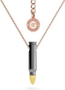 GIORRE Srebrny naszyjnik nabój pocisk srebro 925 : Długość (cm) - 55 + 5, Kolor pokrycia srebra - Pokrycie Różowym 18K Złotem