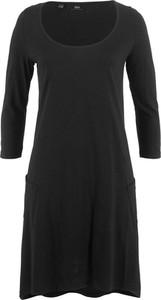 Czarna sukienka bonprix bpc bonprix collection z długim rękawem na co dzień