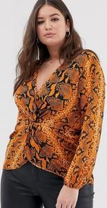 Bluzka Asos z dekoltem w kształcie litery v z długim rękawem