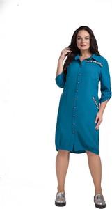 Sukienka Art Mio koszulowa z długim rękawem